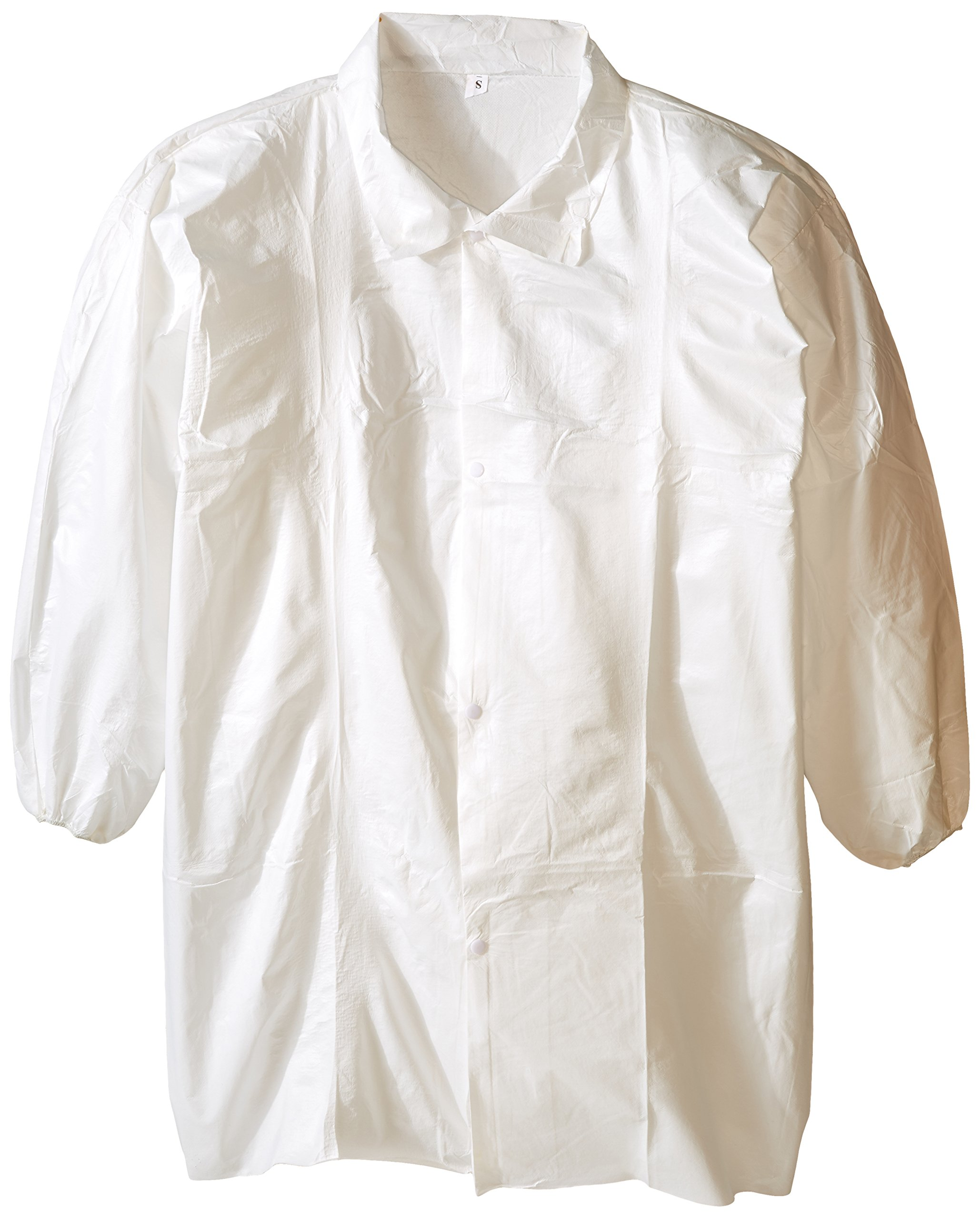 DanGuard DSP347 Microporous Fabric Snap Front Lab Coat with Fold Down Collar, Elastic Wrists, Small, White (Case of 30)