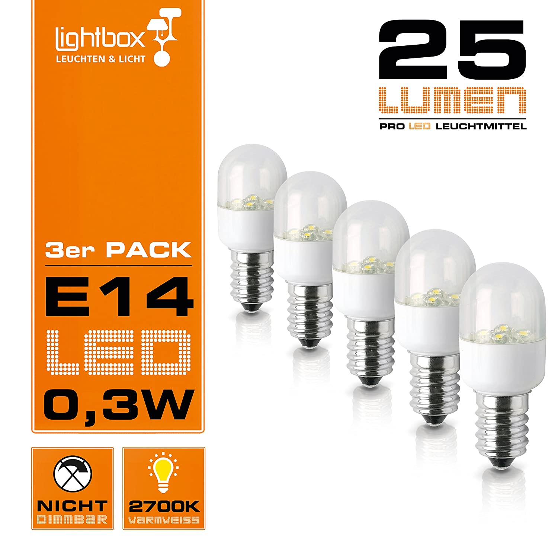 5er Pack) E14 LED 0,3W Lampe, 25 Lumen, 2700K Warmweiß, 160 ...