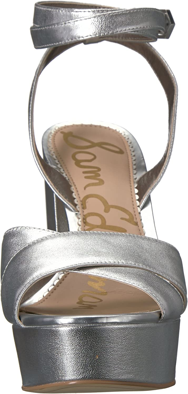 Sam Edelman Femmes Sandales À Talon Soft Silver Metallic Leather