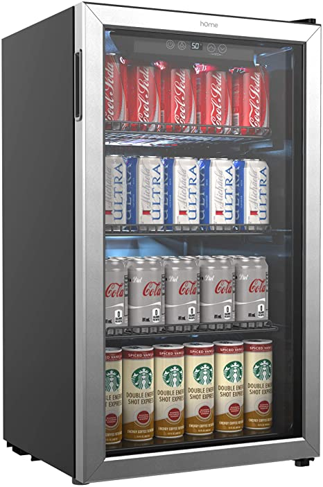 Homelabs Beverage Refrigerator And Cooler 120 Can Mini Fridge With Glass Door For Soda Beer Or Wine Small Drink Dispenser Machine For Office Or Bar With Adjustable Removable Shelves Appliances