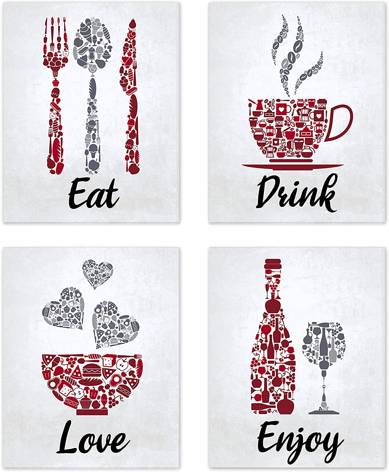"""Red Maroon Grey White Mosaic Vintage Inspirational Kitchen Restaurant Cafe Bar Wall Art Decorations Eat Drink Love Wine Coffee Hearts Prints Posters Signs Sets Rustic Farmhouse Country Home Dining Room House Decor Funny Sayings Quotes Unframed 8""""x10"""""""