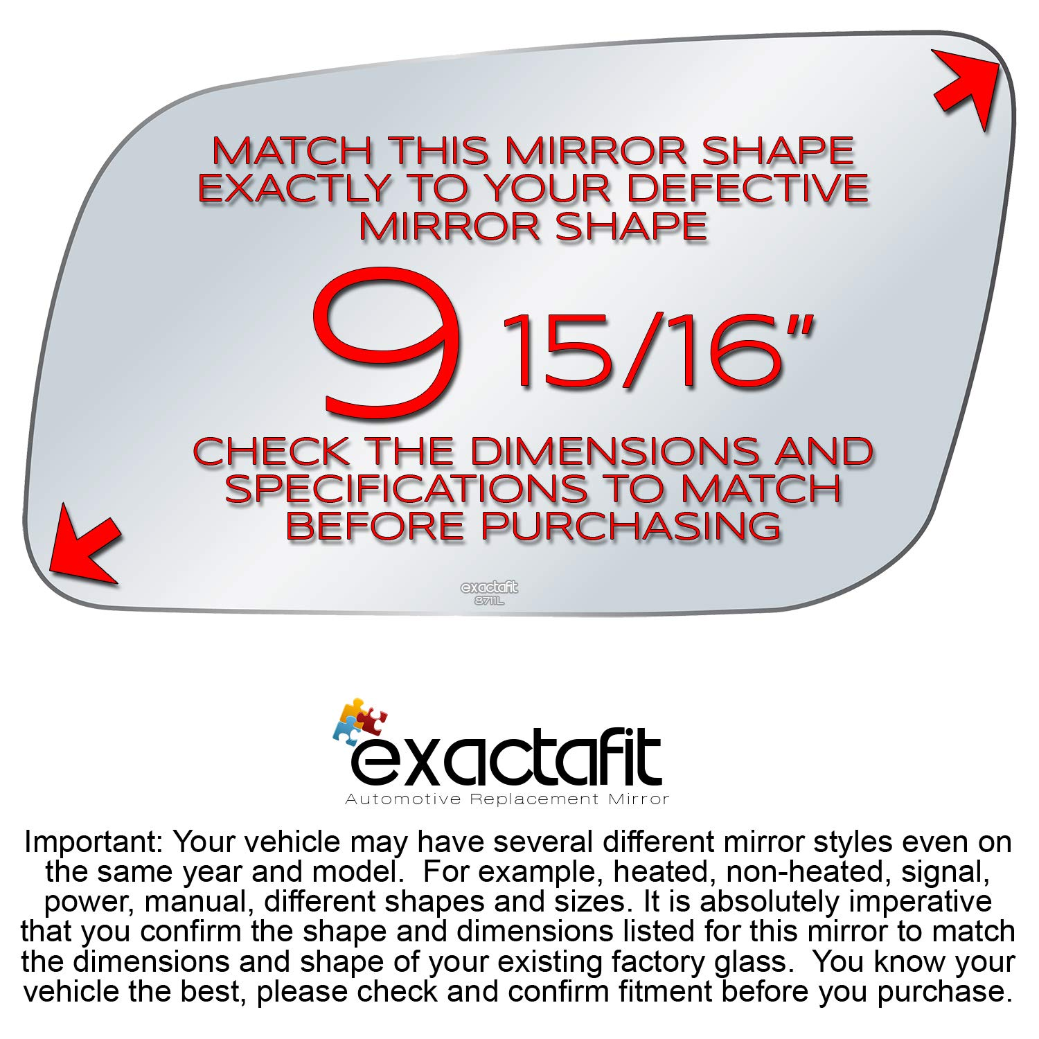 exactafit 8711L Driver Left Side Mirror Glass Replacement fits Chevy GMC C K 1500 2500 3500 Yukon Tahoe
