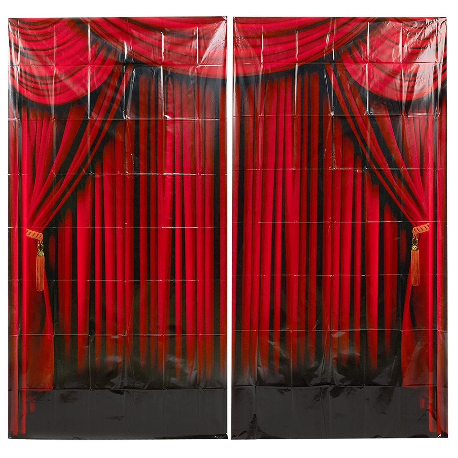 Amazon Fun Express Red Curtain Backdrop Banner Decoration 2 Piece Toys Games