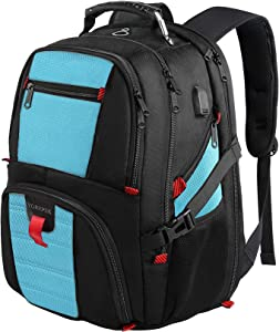 Laptop Backpack,Extra Large Backpacks with USB Charging Port,TSA Travel Computer Backpack for Men and Women, Water Resistant College School Bookbag Fits 17 Inch Laptops and Notebooks,Blue