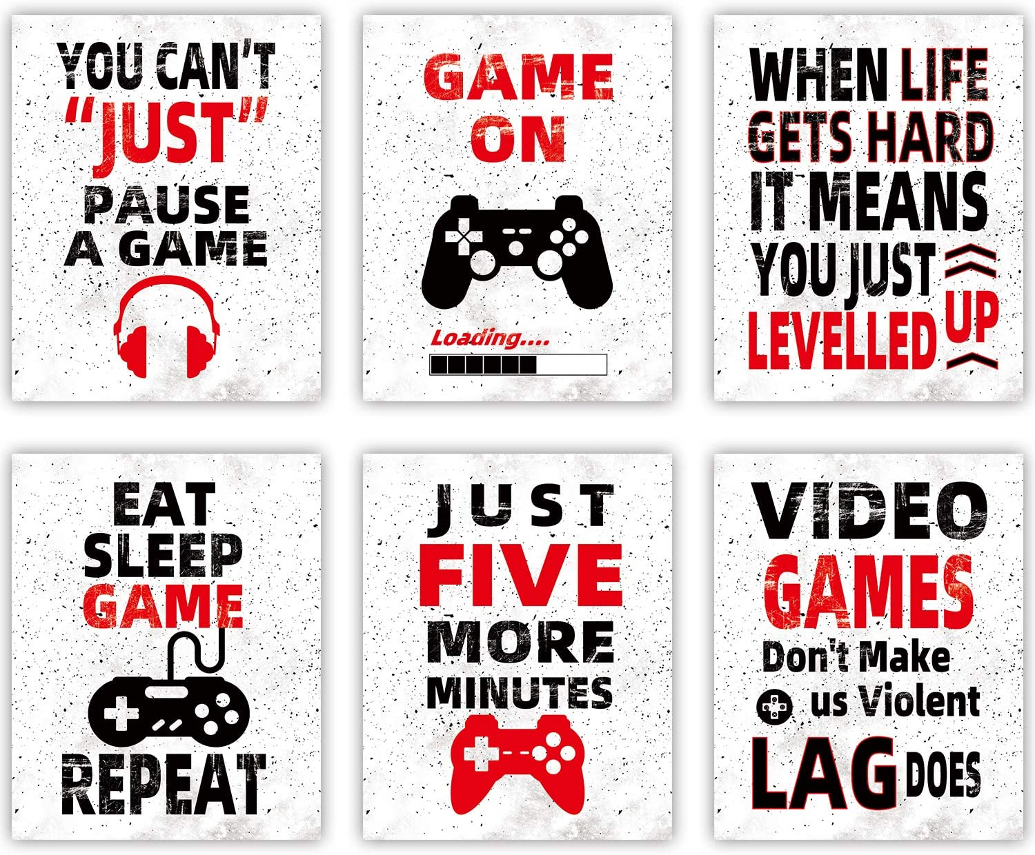 """HOMIEVAR Video Game Wall Art Teen Boy Room Decor Funny Gaming Posters Canvas Game Decoration for Kids Playroom Home Decor,No Frame Set of 6(10 """"X8 """")"""