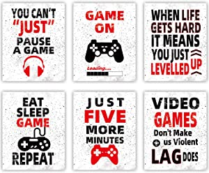 "HOMIEVAR Video Game Wall Art Teen Boy Room Decor Funny Gaming Posters Canvas Game Decoration for Kids Playroom Home Decor,No Frame Set of 6(10 ""X8 "")"