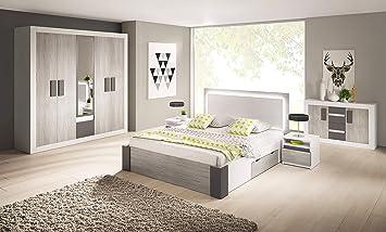Chambre à Coucher complète Helios scandinave lit 160x200, Tables de ...