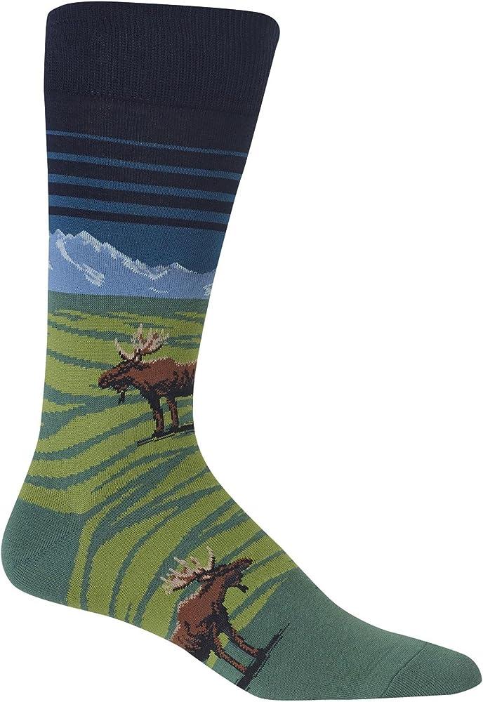d5e2d51640675 Hot Sox Mens Moose Mountain Crew Socks, Men`s Shoe Size 6-12.5, Navy ...