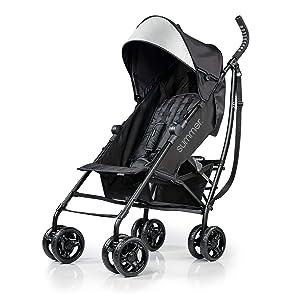 Summer 3Dlite Convenience Stroller, Jet Black – Lightweight Stroller with Aluminum Frame, Large Seat Area, 4 Position Recline, Extra Large Storage Basket – Infant Stroller for Travel and More (2019)