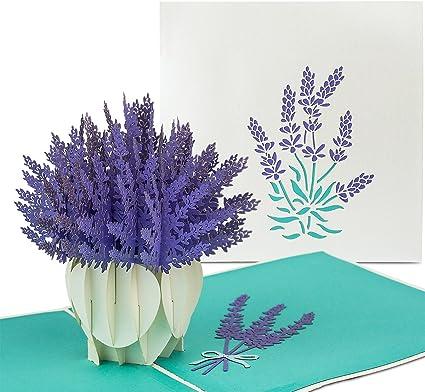 Papercrush Carte Pop Up Fleur Lavande Carte Danniversaire 3d Pour Mère Grand Mère Faite à La Main Avec Motif De Fleur Y Compris