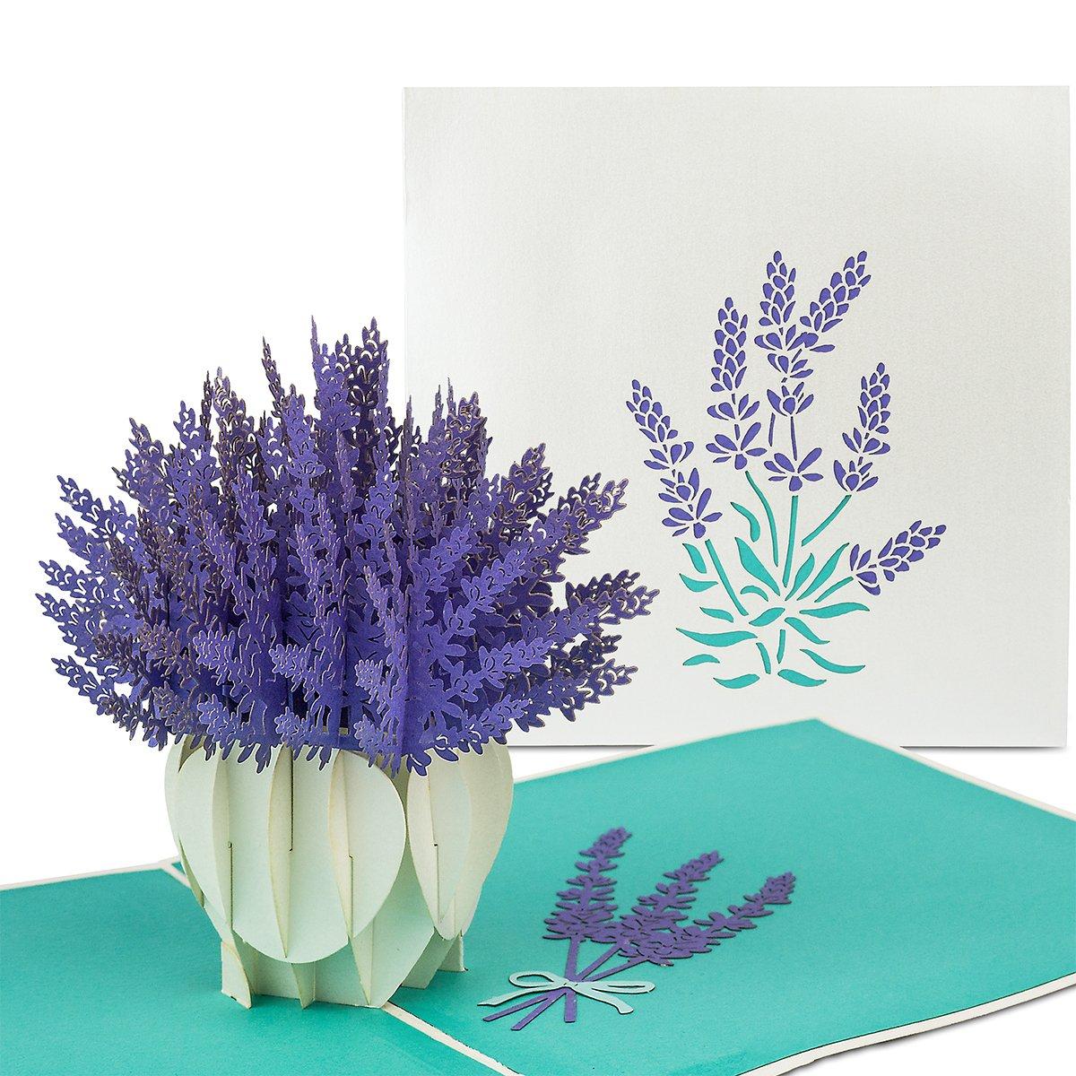 PaperCrush® Tarjeta Pop Up Flores Lavanda - 3D Flower Card como un regalo especial para la madre, abuela - Tarjeta de cumpleaños hecha a mano con motivo de la Flor incluido sobre