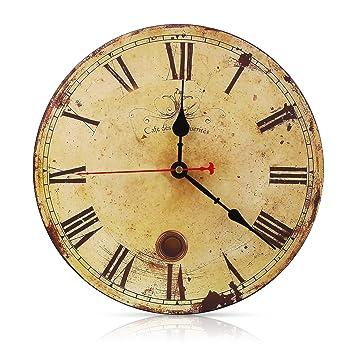 Soledi Vintage Francés Reloj de Pared con número Romano de Madera con el Dibujo de Metal Oxidado, de Estilo de Toscano, excelente Dibujo para la SUA Casa: ...