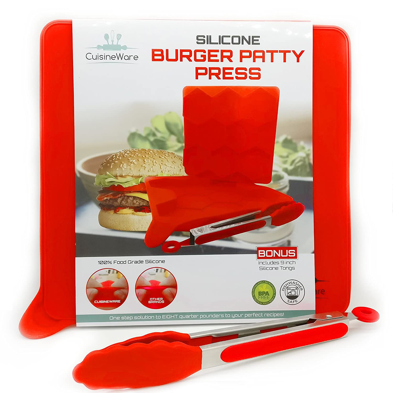 Cuisineware hamburguesas Patty Maker Set- mejor 8 en 1 100% silicona de grado alimenticio DIY Burger Patty Press/frigorífico Premium antiadherente ...