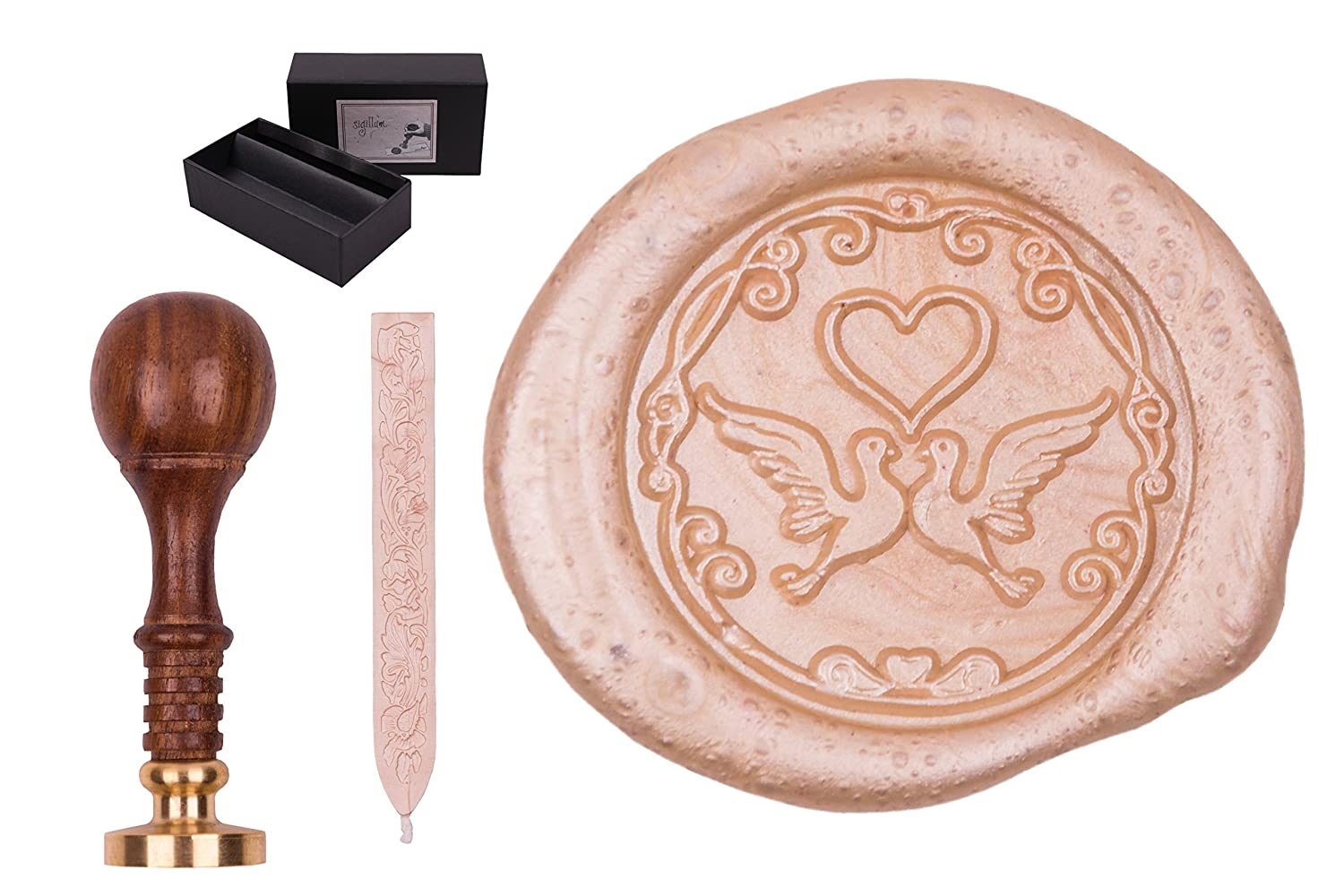 'gravurART Seal Sigillum Wedding Doves and Heart Stamp Set – Wax