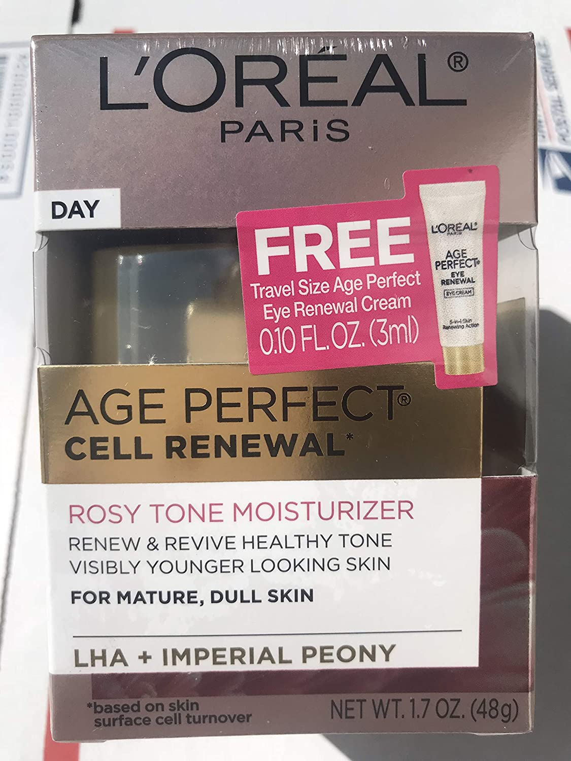 ????Premium Pack Age Perfect Cell Renewal Rosy Tone Face Moisturizer with LHA and Imperial Peony for Visibly Younger Looking Skin, Anti-Aging Day Cream for Face, Non-greasy, 1.7 oz.