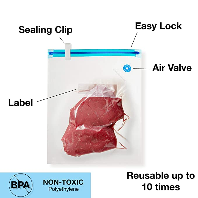 Sous Vide Vacuum Sealer Bags Kit | 15 Reusable Food Saver Storage Bags, 1  Hand Air Pump, 2 Sealing Clips and 2 Bag Clips | 100% BPA-Free | For Anova