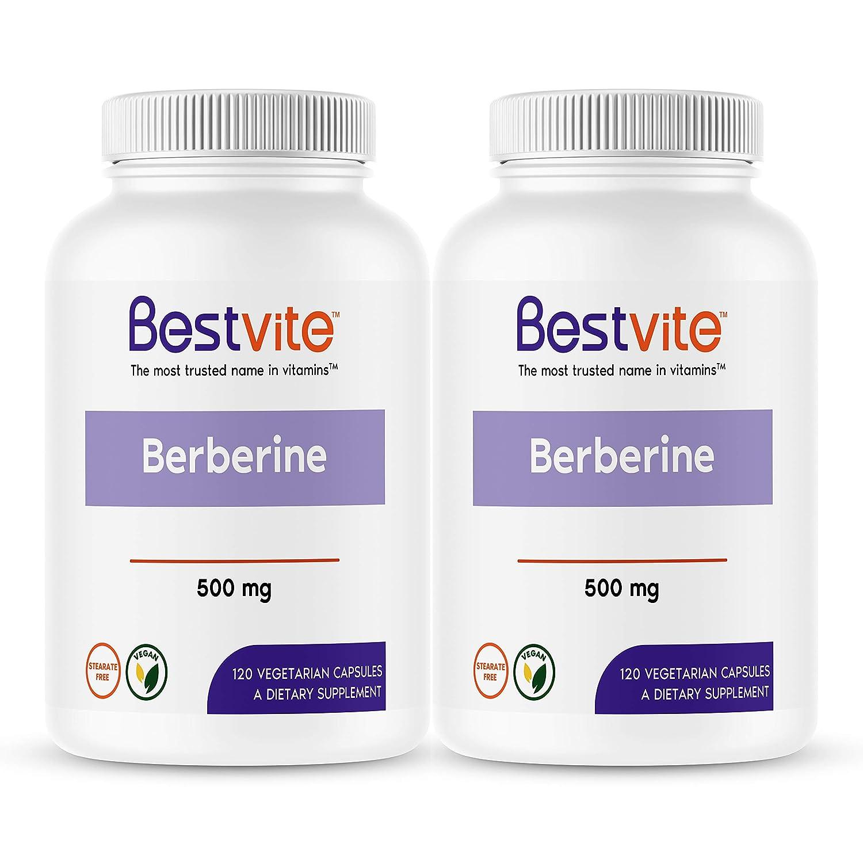 Berberine 500mg 240 Vegetarian Capsules 2-Pack – No Fillers – No Stearates – No Flow Agents – Vegan – Gluten Free – Non GMO