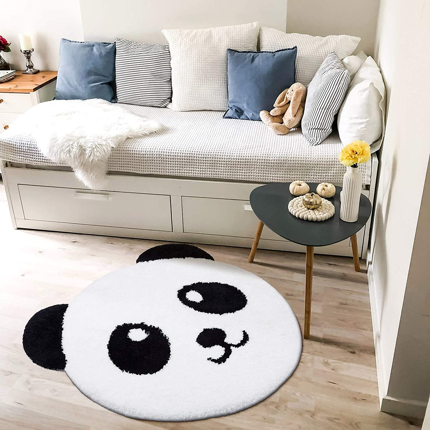 "Decomall Panda Area Rug Round Nursery Kids Play Mat Animal Shape Shaggy Plush Super Soft, 3'4"" x 3'4"" Round"