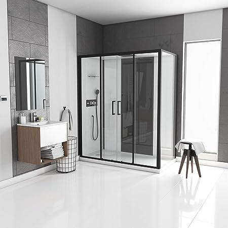 Aurlane Infinity Low - Cabina de Ducha Rectangular (170 x 90 x 205 cm), Color Blanco con Perfil Negro Mate: Amazon.es: Hogar