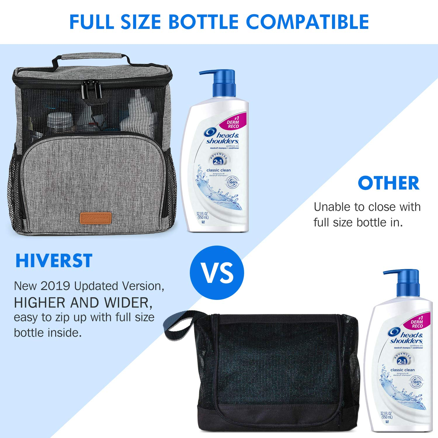Camp Hiverst Hanging Toiletry Bag Updated Version, Full Size Bottle Compatible Women Men Shower Caddy Tote Bag Bath Organizer for College Dorms with Funny Luggage Tag Gym