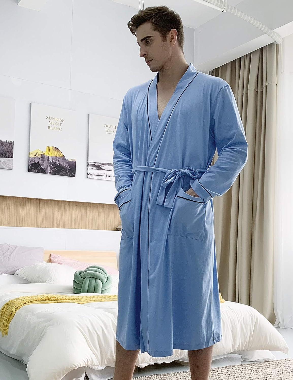 Aibrou Hombre Bata y Albornoz Largo con Cintur/ón,Bata de Ba/ño Algodon Oto/ño e Invierno Ropa de Dormir Casual Kimono para Piscina Sauna SPA Hotel Party S-XXL