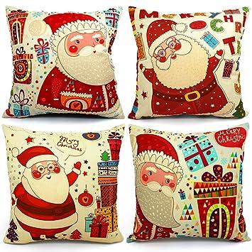 Christmas Pillows Covers 18 X 18 Christmas Décor Santa Claus Pillow Covers  Christmas Decorative Throw Pillow