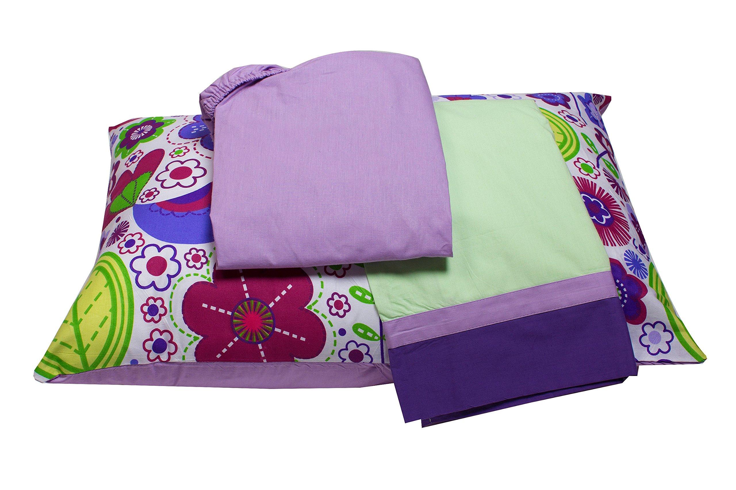 Bacati - Botanical Purple Toddler Sheet Set