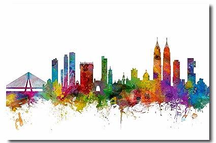 Amazoncom Mumbai Skyline Colorful Canvas Wall Art Beautiful