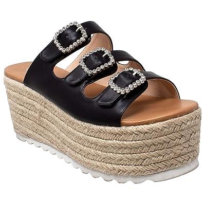 6183cfec64c SOBEYO Womens Platform Sandals Wedge Flatform Slip On Rhinestone Accent  Espadrilles Black SZ 6