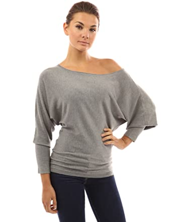12a10d005687 PattyBoutik Women s One Shoulder Batwing Sweater Knit Top at Amazon ...