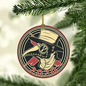 Lplpol 3 inch Ceramic Ornament Plague Doctor 2020 Christmas Ornament Pandemic Ornament Tree Decorative Accessories Holiday Xmas Gift Christmas Tree Ornament Holiday Ornament