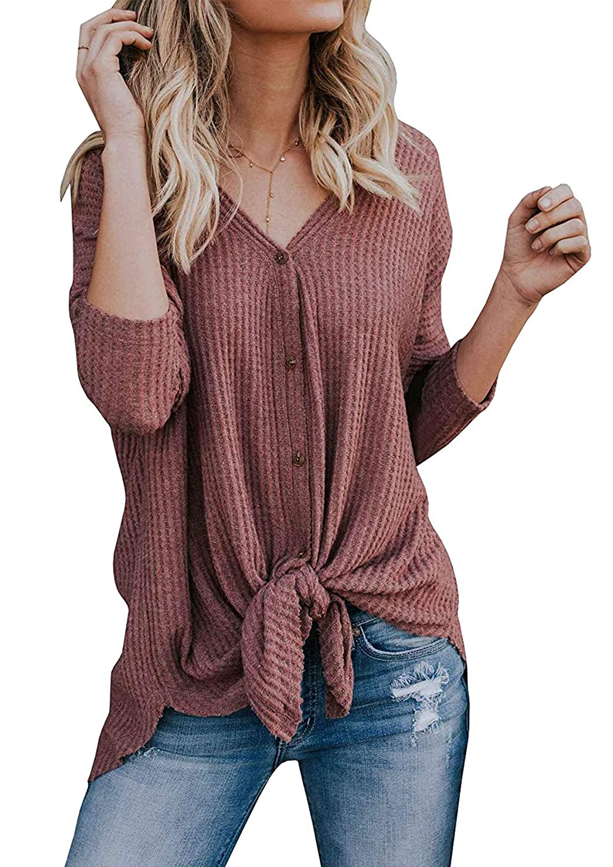 Yidarton Womens Long Sleeve Knit Tunic Blouse Waffle V Neck Button Down Henley T Shirt Cardigan Tops