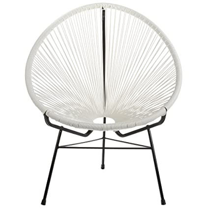 Merveilleux Design Tree Home Acapulco Indoor/Outdoor Lounge Chair Weave On Black Frame,  White