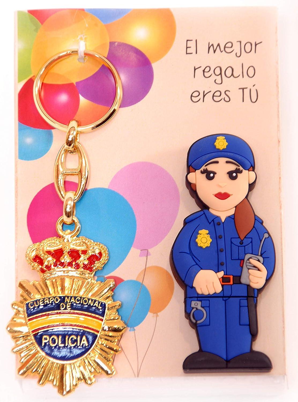POLICIA Nacional ESPAÑOLA Femenina USB de 16gb. de Memoria con Llavero DE Placa DE POLICIA.