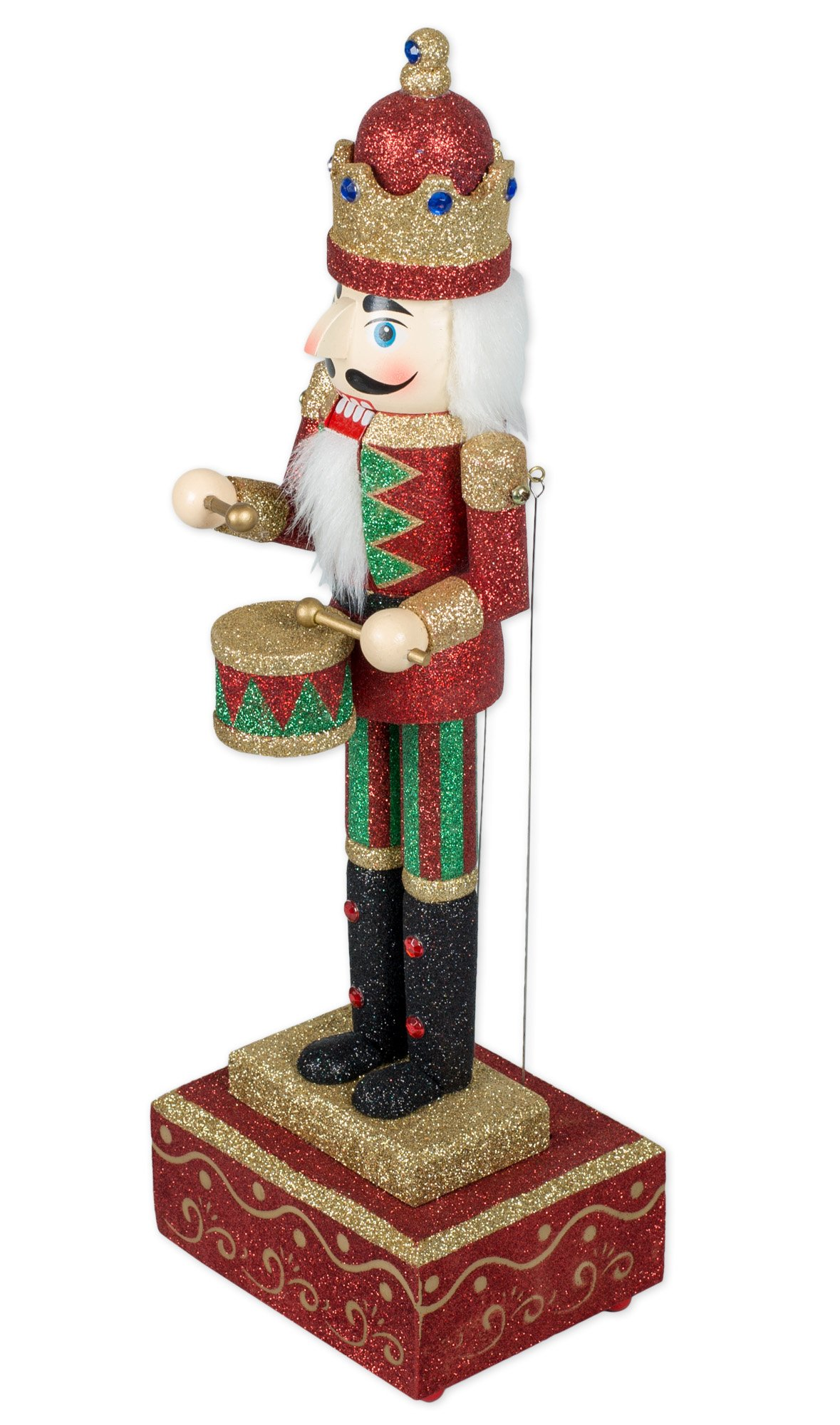 MusicBox Kingdom Big Wooden Nutcracker with Glitter Moves The Arms to The Tune of ''Nutcracker Suite'' Decorative Item by Musicbox Kingdom (Image #3)