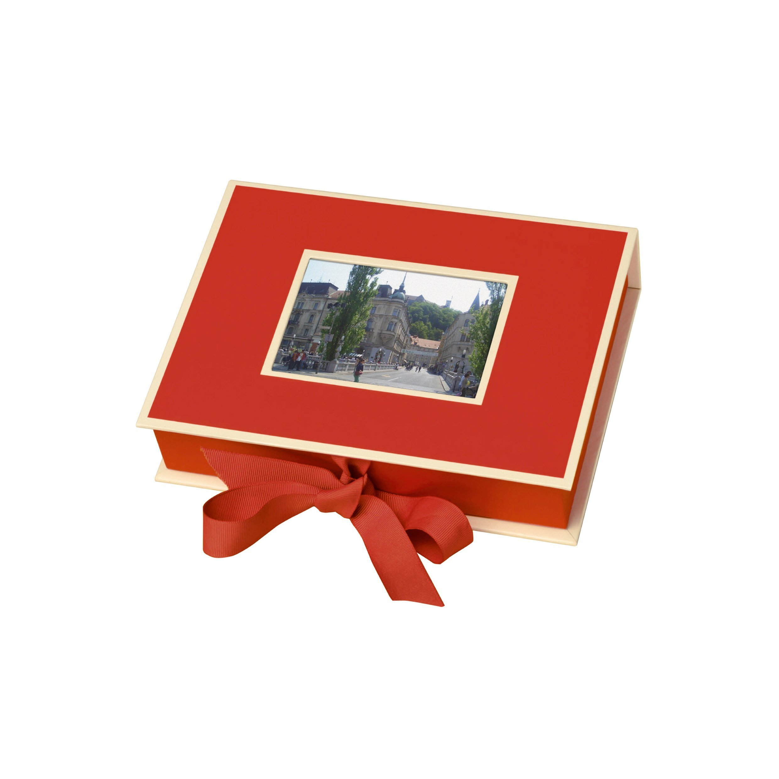 Semikolon Small Photo Box, Ribbon Tie Closure, Red (31504)