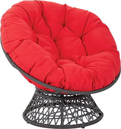 OSP Designs Papasan Chair with 360-degree Swivel, Red cushion and Black Frame