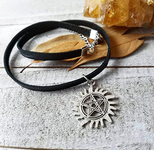 Anti possession sigil Supernatural choker necklace thin black leather  protection amulet jewelry