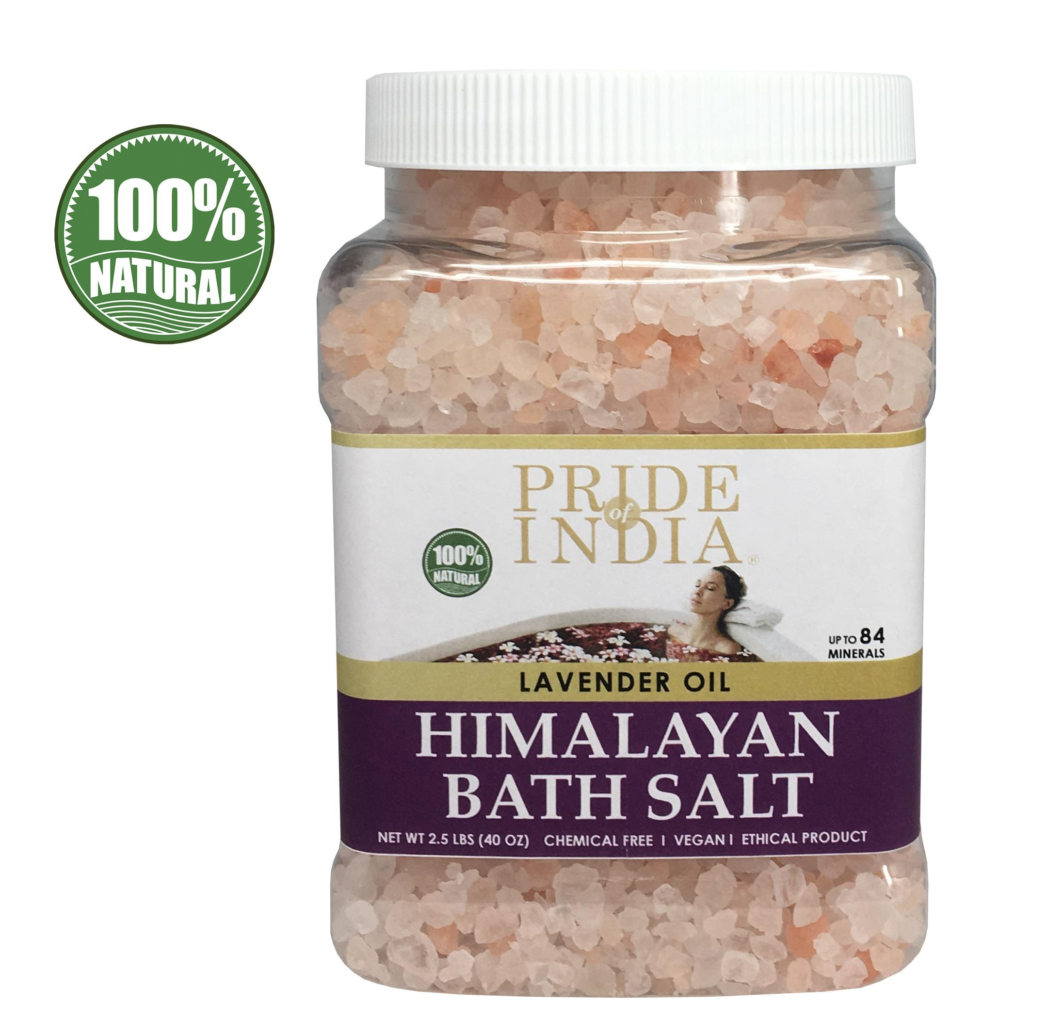 Pride Of India - Himalayan Pink Bathing Salt - Enriched w/Lavender Oil and 84+ Natural Minerals, 2.5 Pound (40oz) Jar - Bath Salts, Bath Salts for Women and for Men, Himalayan Salt Bath by Pride Of India (Image #2)