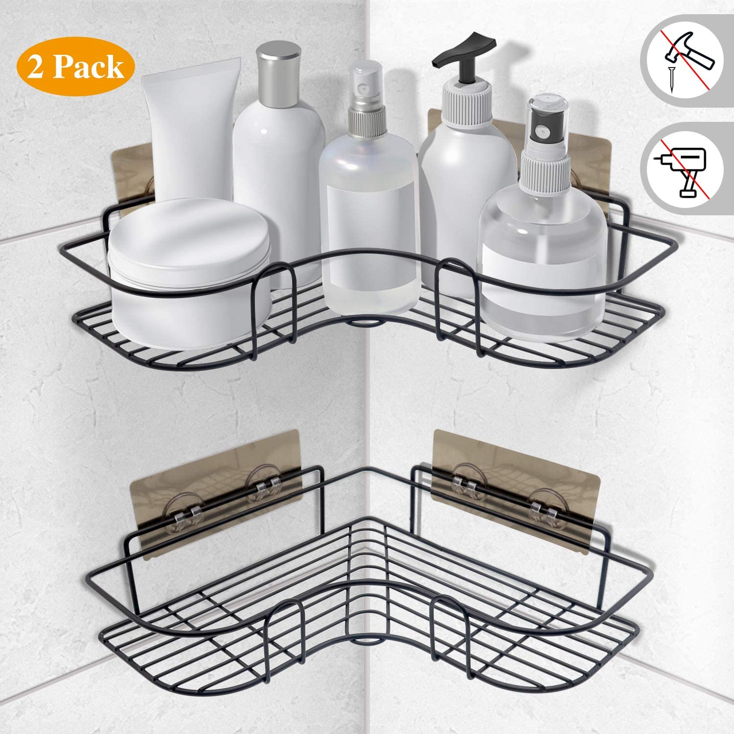 SYOSIN Bathroom Shower Corner Shelves,Shower Organizer Storage,No Drilling Shower Caddy Shower Basket Organizer with Adhesive Sticker for Kitchen & Bathroom Accessories(2 Tier, Black)