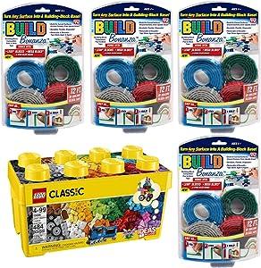 As Seen On TV Lego Medium Creative Brick Box with 4 Flexible Building Block Tape Base Bundle