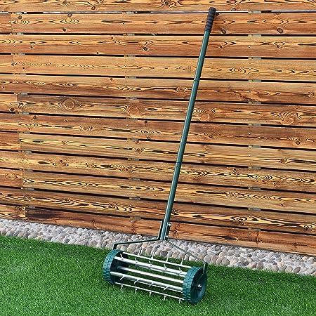 EBTOOOLS Lawn Aerator Scarifier Lawn Roller Metal Mandrels Lawn Aerator Garden Roller Set of 5 Spikes Diameter 30 cm
