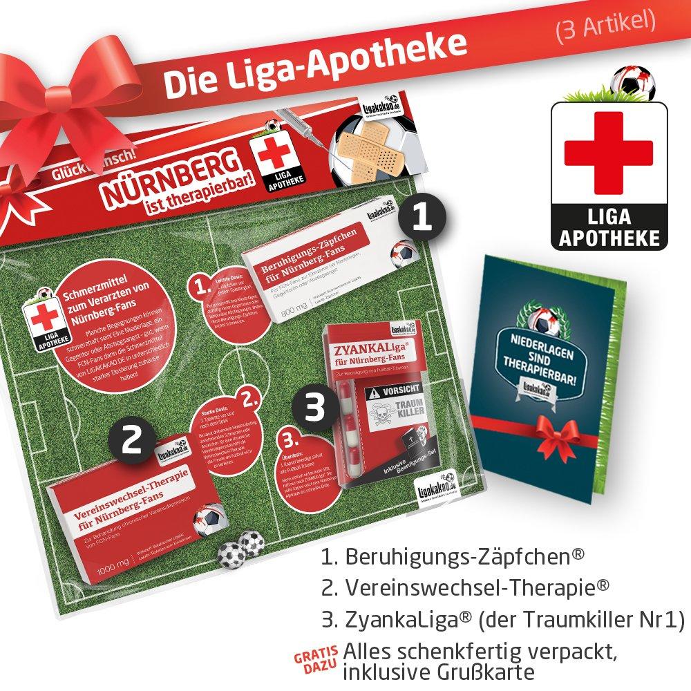 Geschenk-Set: Die Liga-Apotheke für FCN-Fans | 3X süße Schmerzmittel für 1. FC Nürnberg Fans Fanartikel der Liga, Besser ALS Trikot, Home Away, Saison 18/19 Jersey Ligakakao.de