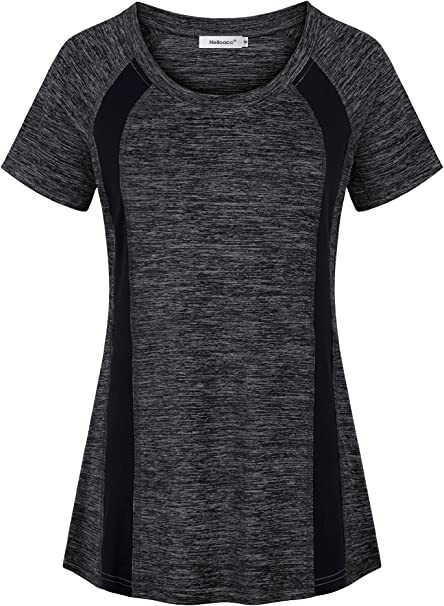 Helloacc Womens Scoop Neck Short Sleeve Yoga Top Loose Fit Sport Workout T Shirt