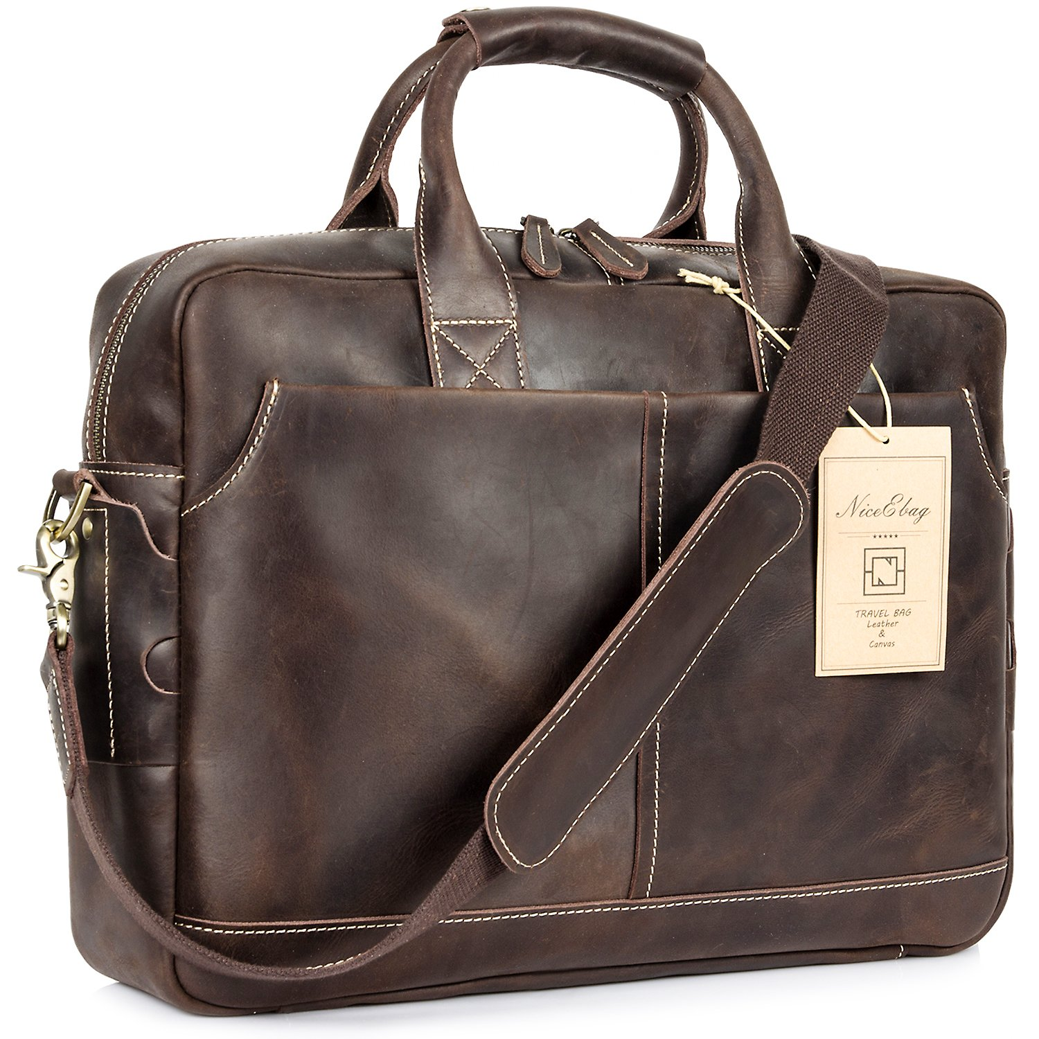 NiceEbag 15.6 Inches Laptop Briefcase Genuine Leather Messenger Bag Vintage Laptop Shoulder Bag Men Satchel Bag by NiceEbag