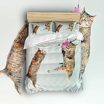 ezon-ch 100% cepillado algodón suave luz verde dos gatos jugando diseño 4 piezas