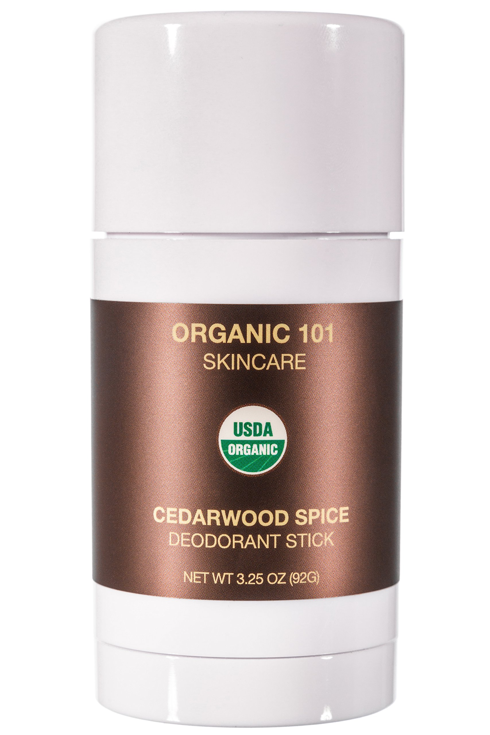 ORGANIC 101 Cedarwood Spice USDA Certified, All Natural, Extra-Strength Deodorant No Aluminum, Parabens, & Other Toxic Chemicals, Stay Clean, Smell Fresh (3.25oz, Satin Bronze)