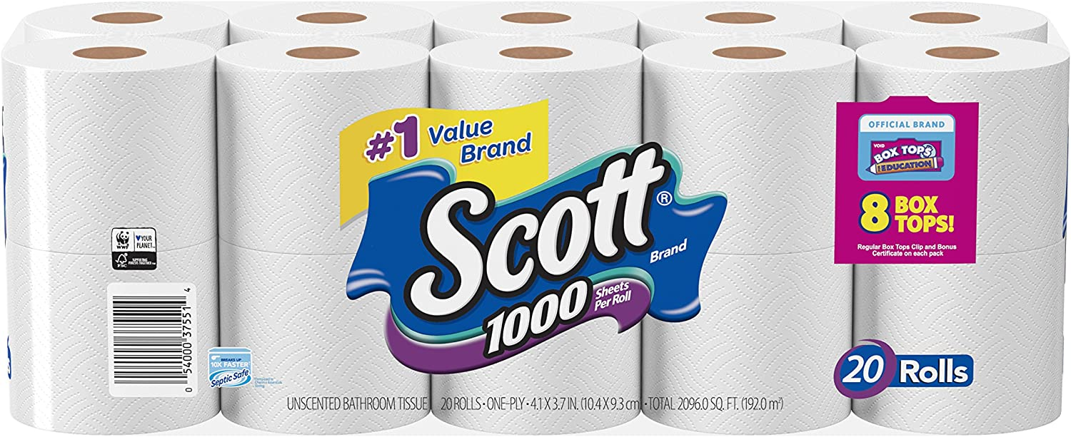 Amazon Com Scott 1000 Sheets Per Roll Toilet Paper 27 Rolls Sewer Safe Septic Safe 1 Ply Bath Tissue America S Longest Lasting Roll Health Personal Care