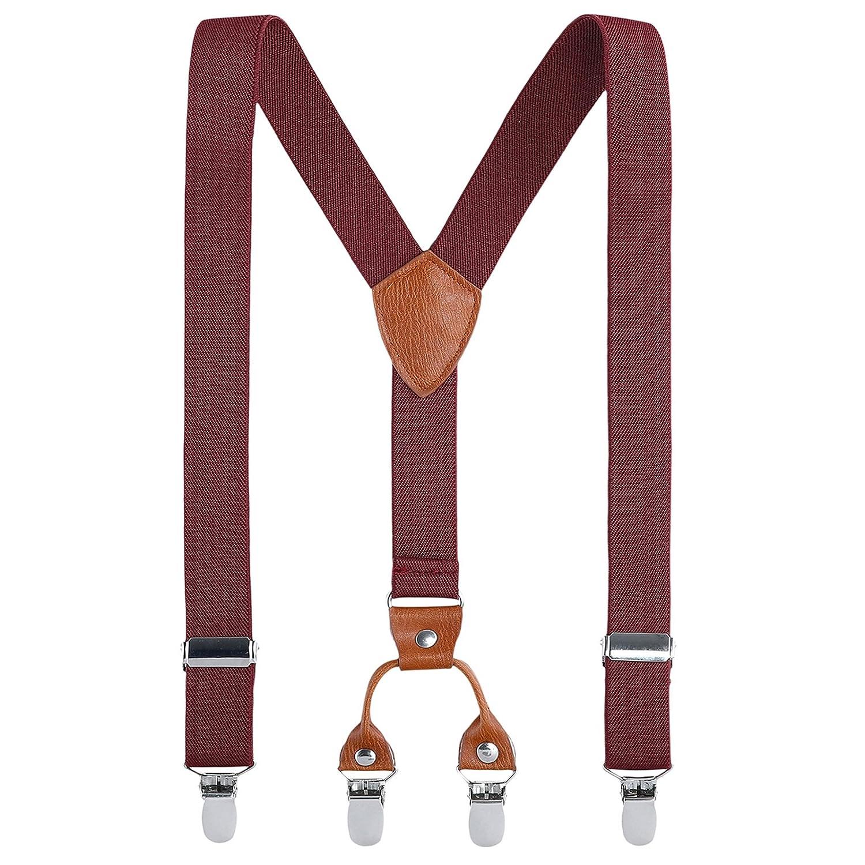 Bretelle per bambini con clip–Pelle chicchi elasticizzato regolabile Pinza su dei Y Forma Bretelle