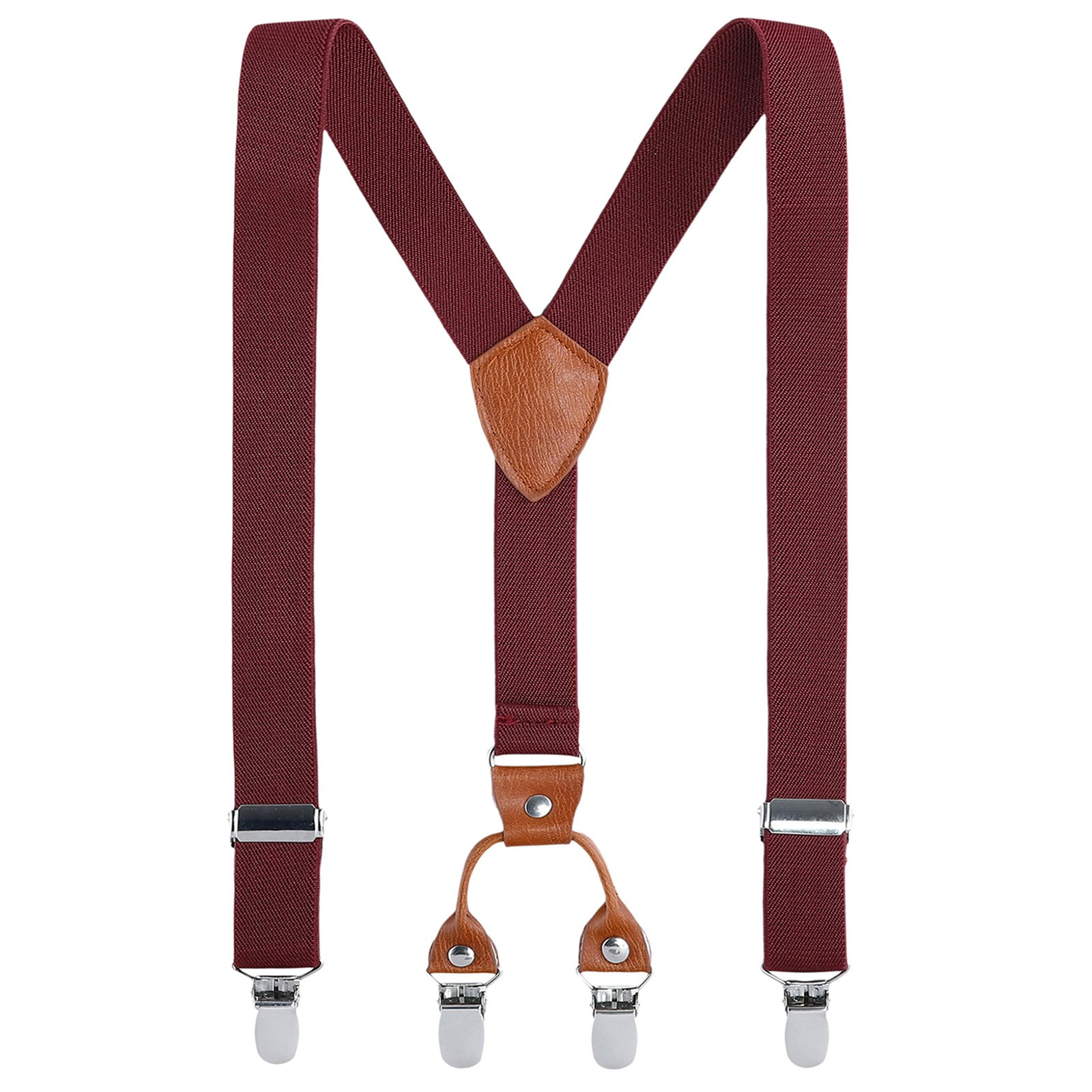 Kids Child Men Boy Suspenders - Adjustable Elastic Solid Color 4 Strong Clips Braces(43Inches (Adult Size), Burgundy)